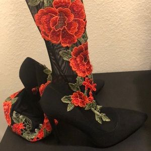 Thigh high floral boots